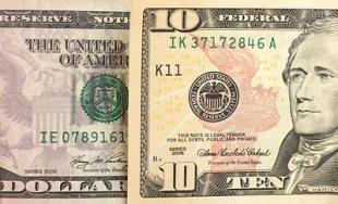 Close-up of 10 dollar bill