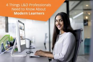 Modern learner sitting at desk with OpenSesame courses on desktop monitor