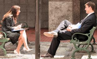 A man and a woman having a conversation