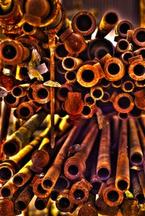 Details of iron pipes in a big stack