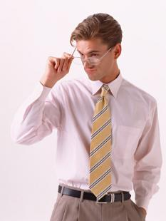 man looking suggestively over glasses