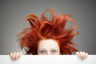Woman with crazy hair