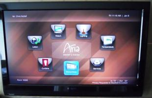 The Aria hotel room's control panel