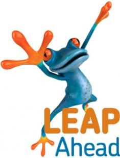 Blue frog with orange hands, feet and eyes with 'Leap Ahead' logo