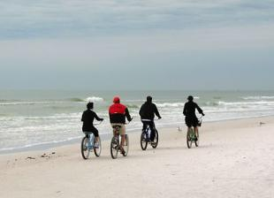 Members of a team riding their bikes on a beach